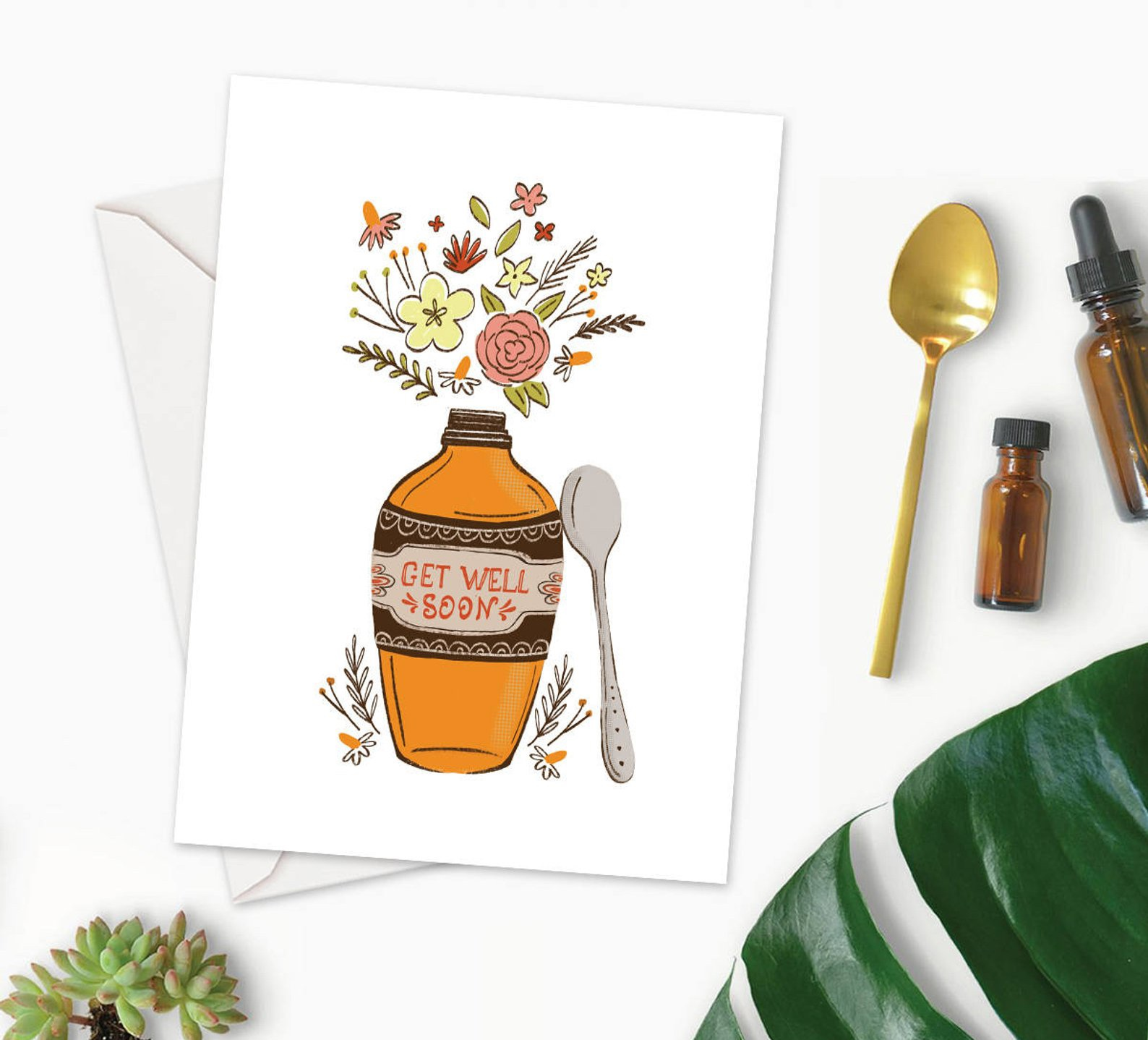 Get Well Card with Floral Medicine Potion By Dot and Jot