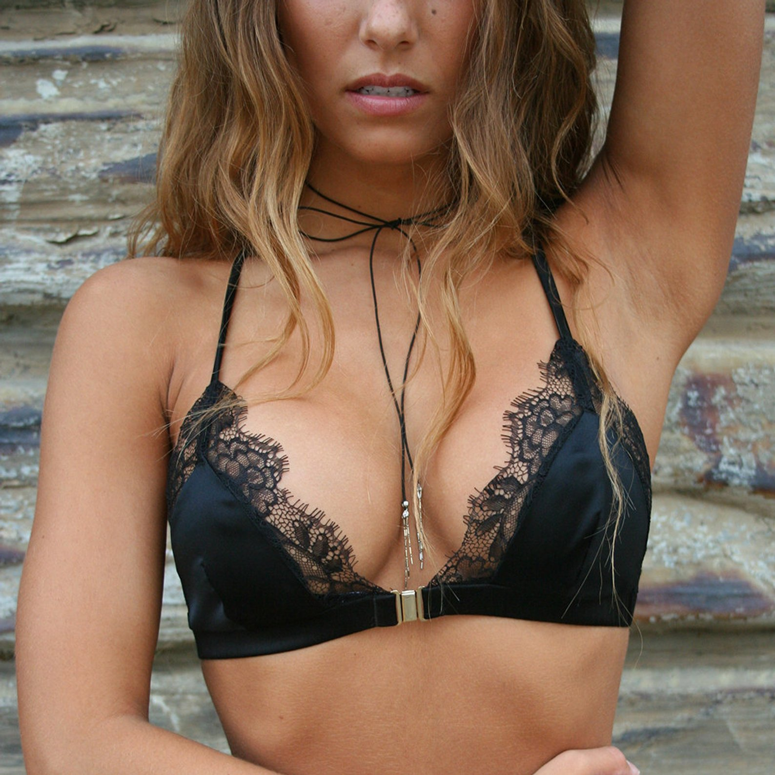 Silk and Lace Front Close Bralette By Elma Shop