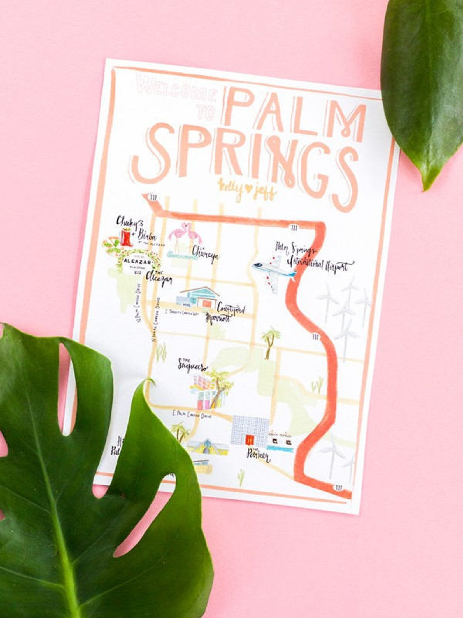 Customizable Palm Springs Map illustration By Striped Cat Studio