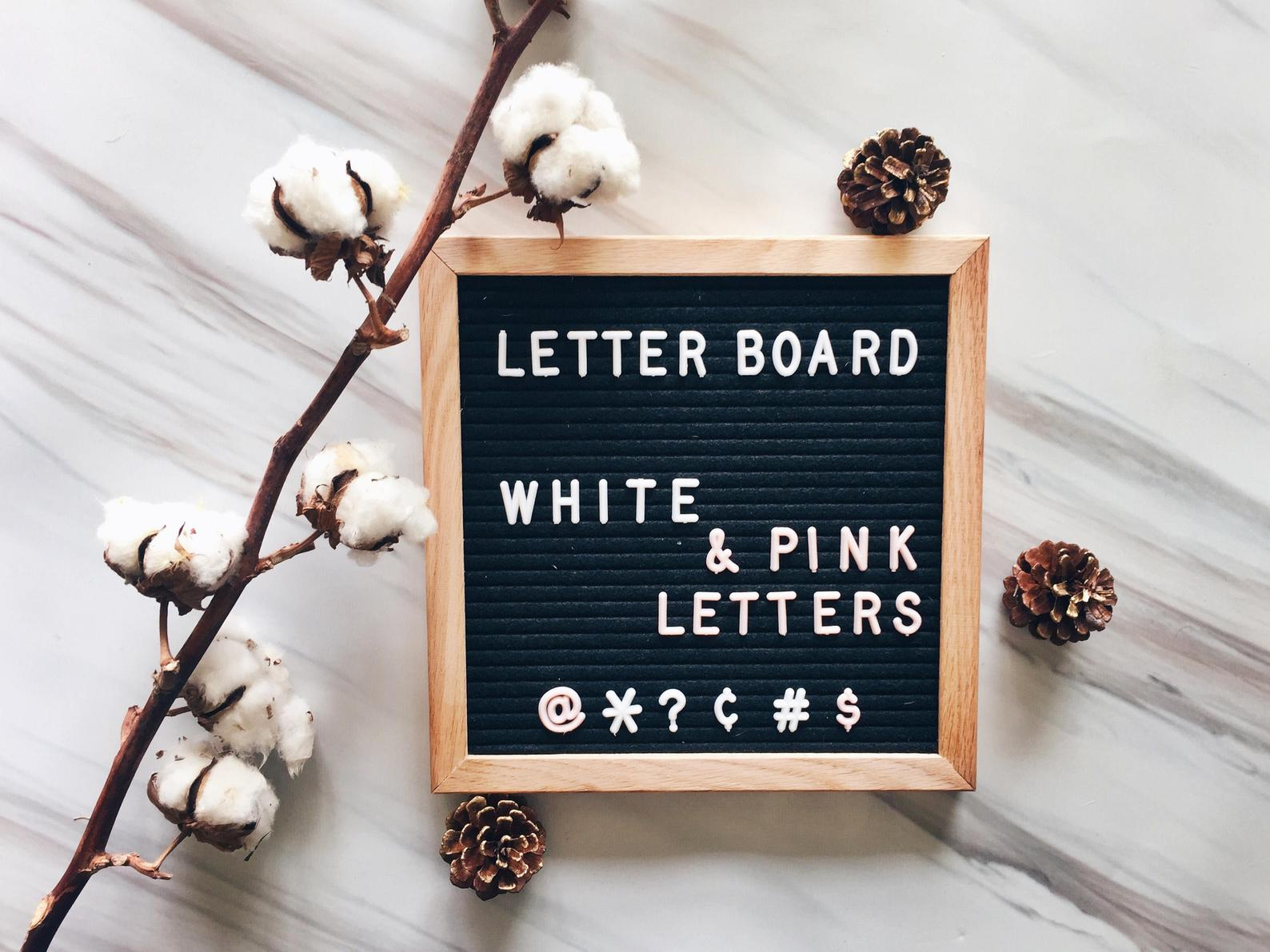 Letter Board with White & Pale Pink Letters By Danae Supply Co