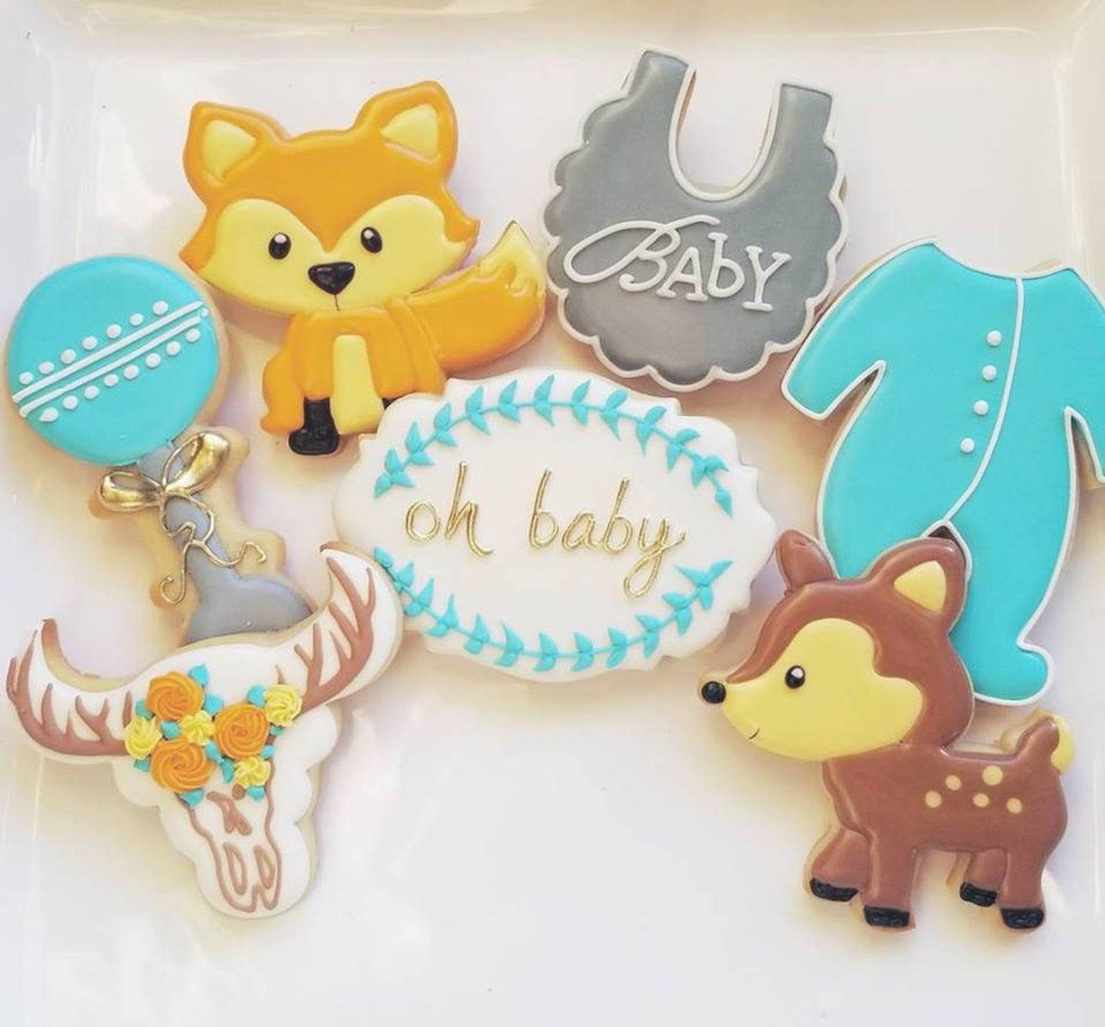 Custom Cookies Oh Deer Baby Woodland Animals By Jill Custom Cookies