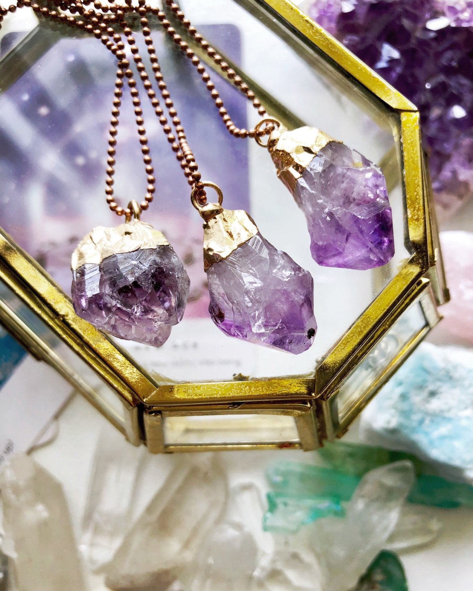Amethyst Crystal Necklaces By Wisdom Remembered on Etsy