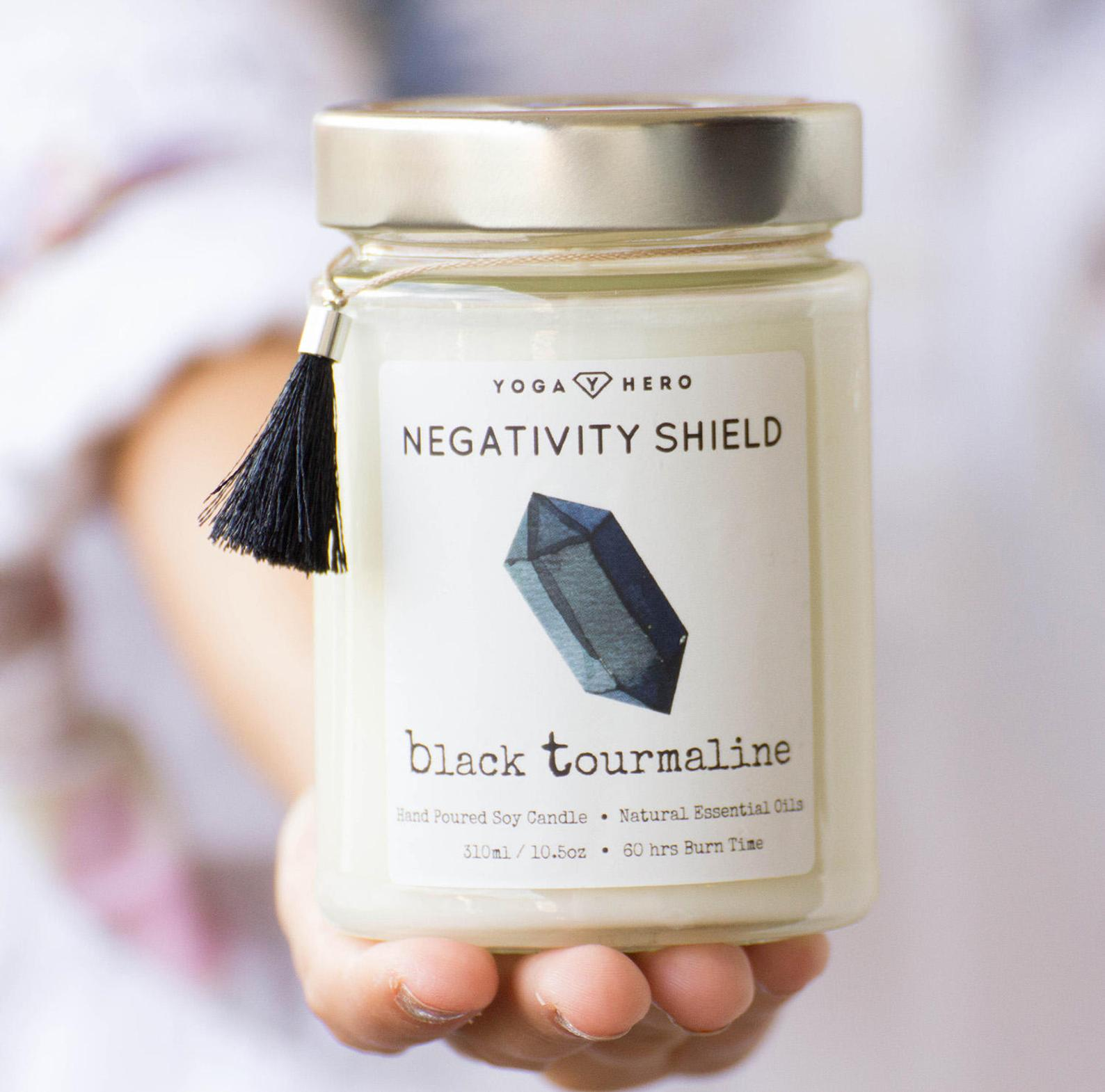 Black Tourmaline Negativity Shield Crystal Candle By Yoga Hero on Etsy