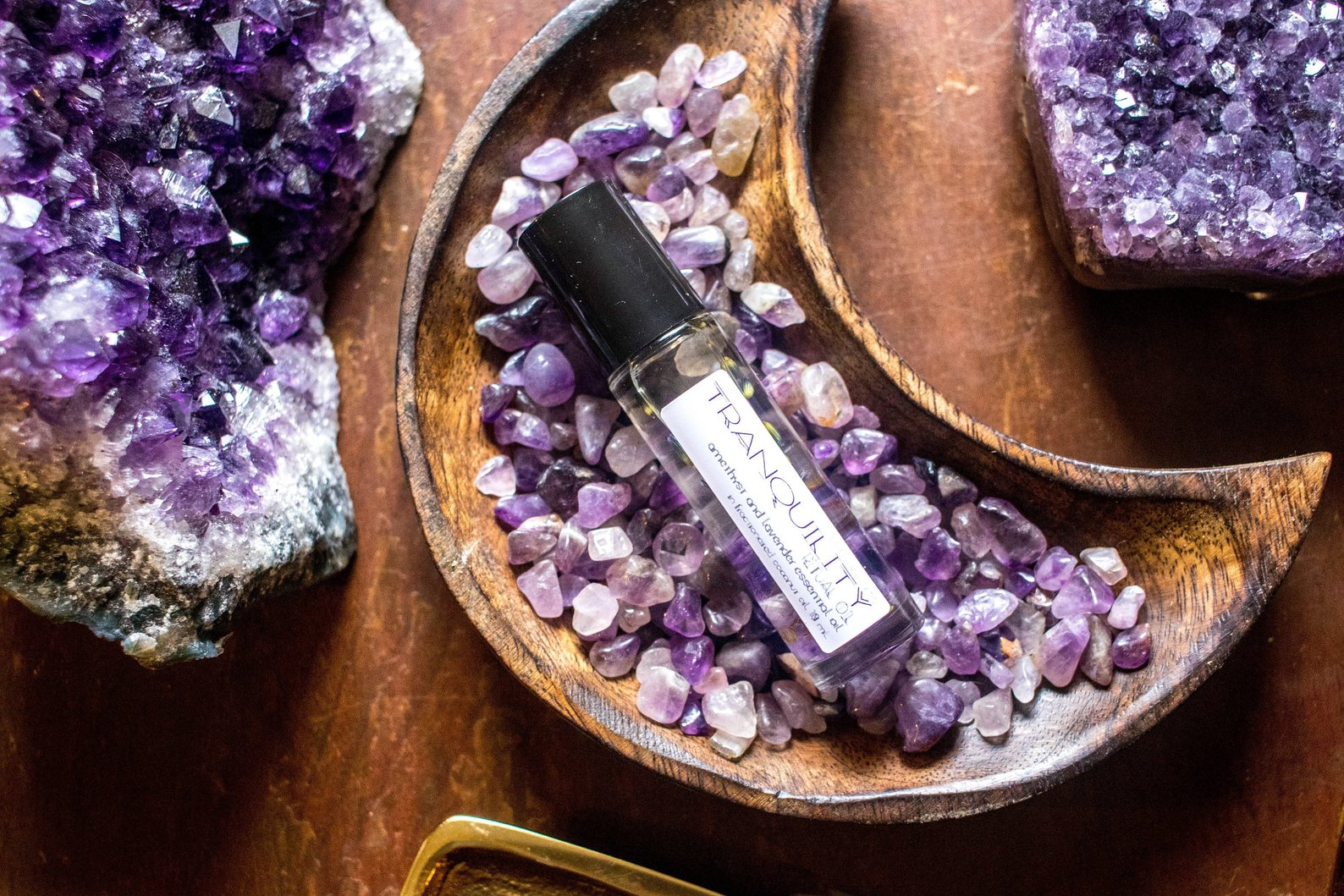 Amethyst + Lavender Tranquility Essential Oil Roller By Mandala Gems