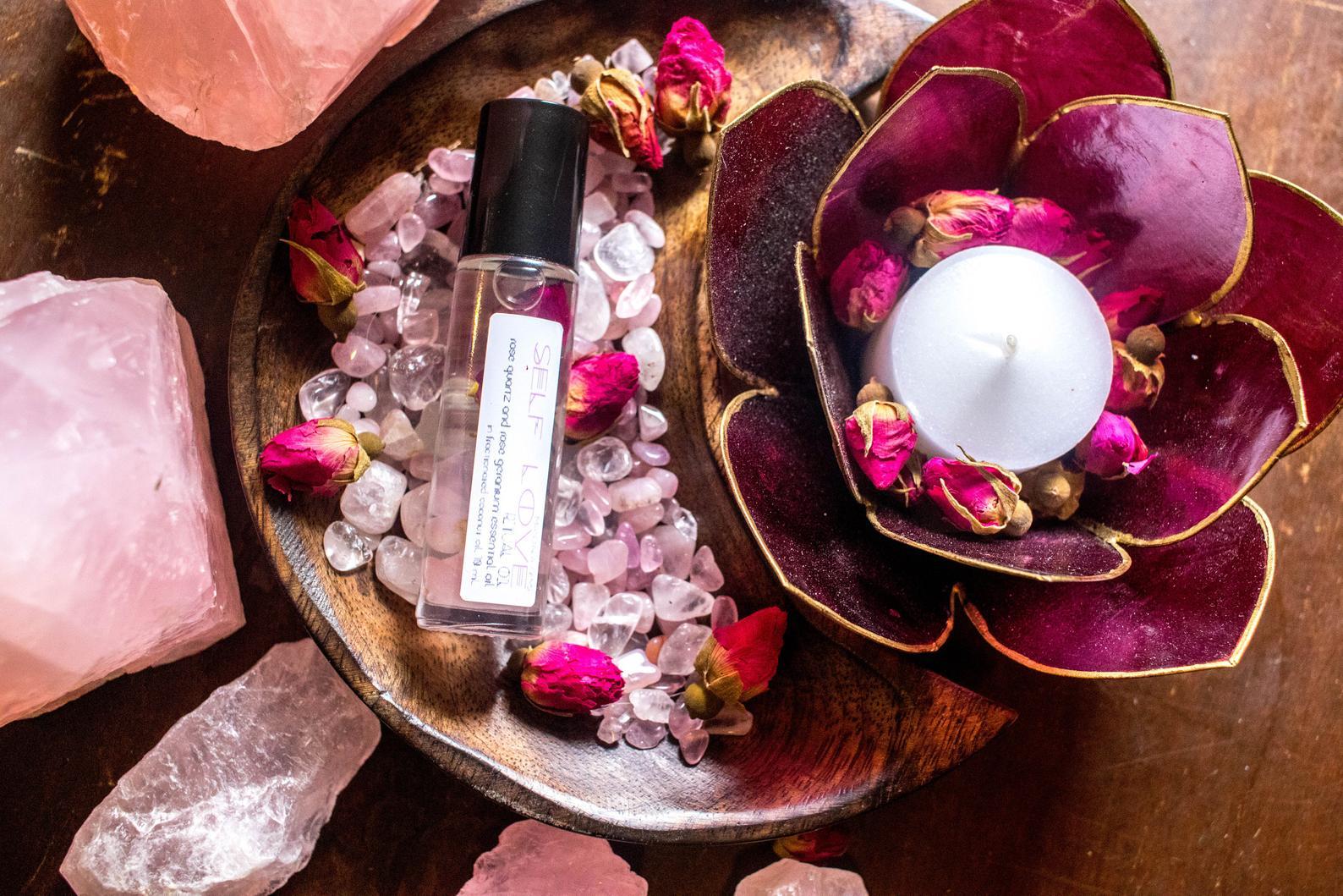 Rose Quartz SELF LOVE Crystal Infused Essential Oil Roller By Mandala Gems