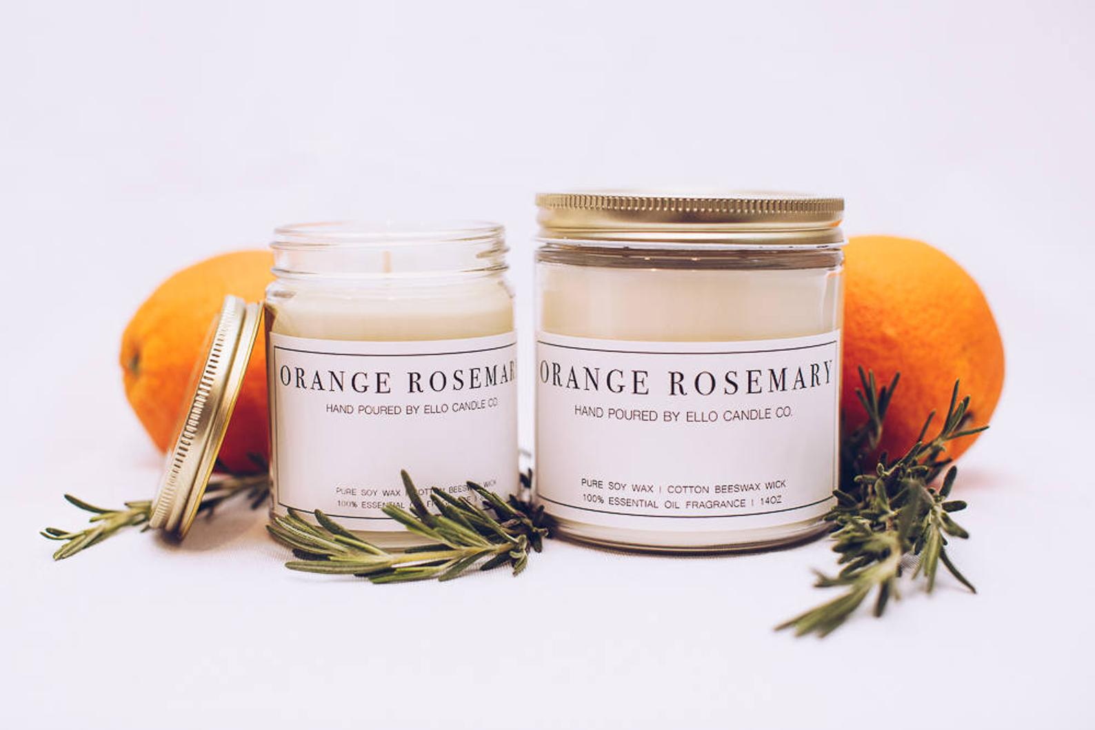 Essential Oil Orange Rosemary Soy Candle By Ello Candle Co