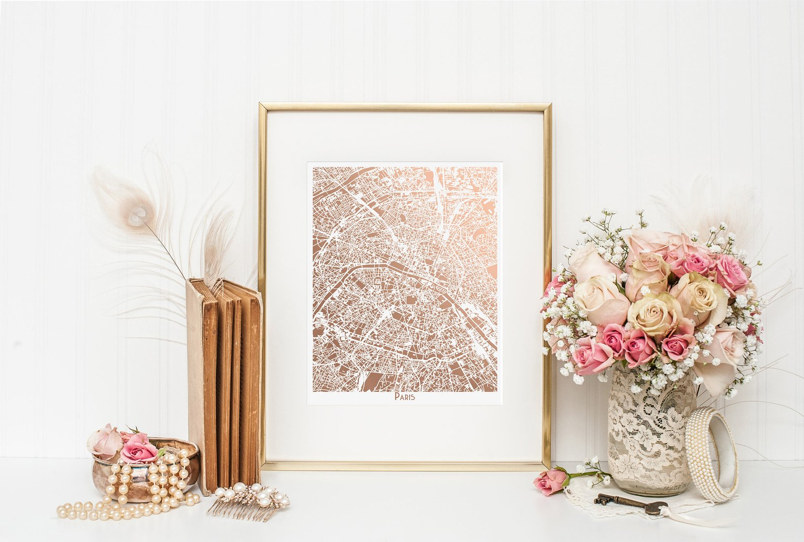 Paris Art Deco Map in Rose Gold By Spotted Octopus Shop