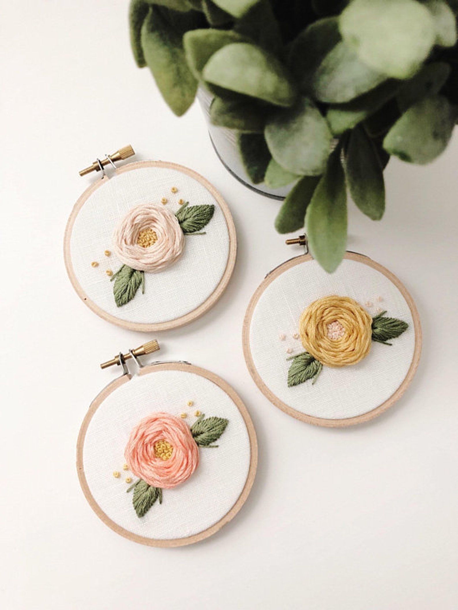 Mini Embroidery Hoop Set of Three By Winston and Windsor