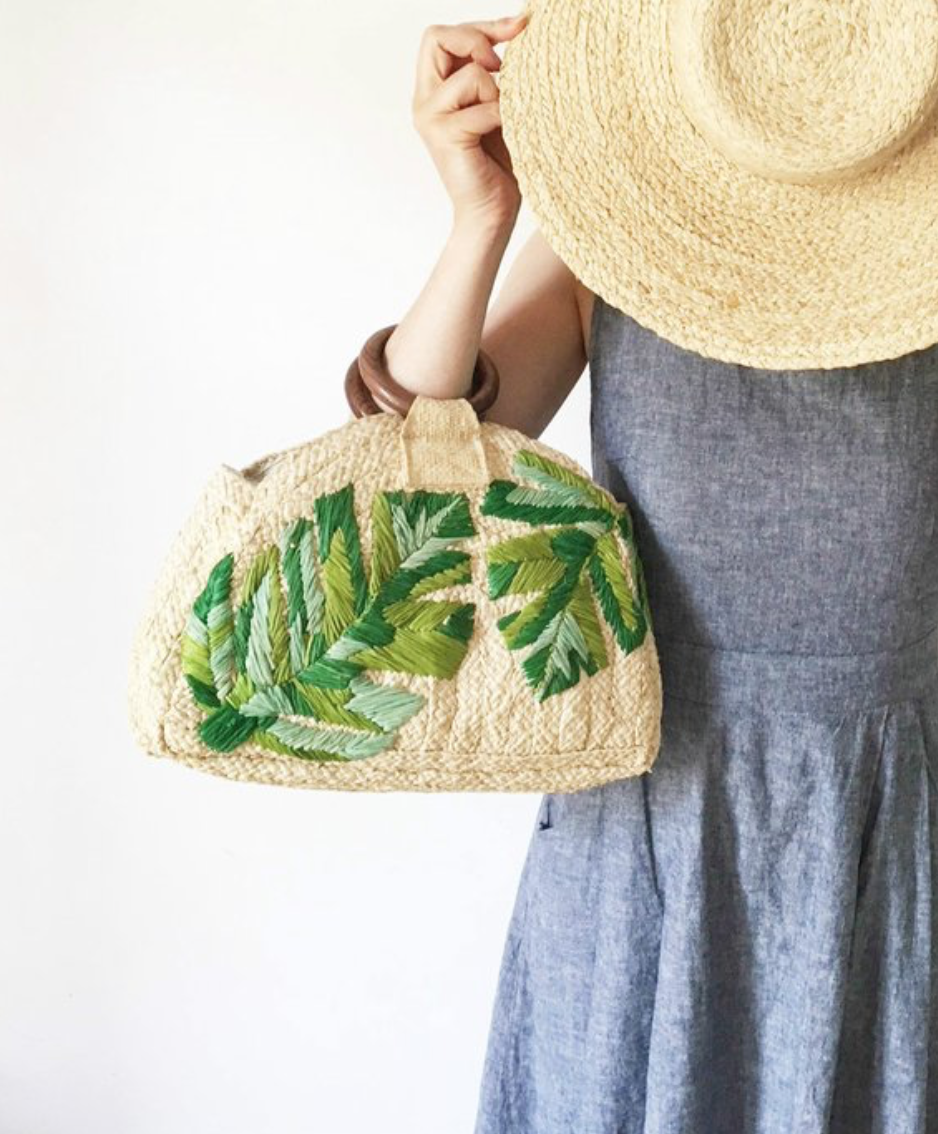 Raffia Round Woven Tote Bag With Monstera Leaf Embroidery By TalaHomeDesign