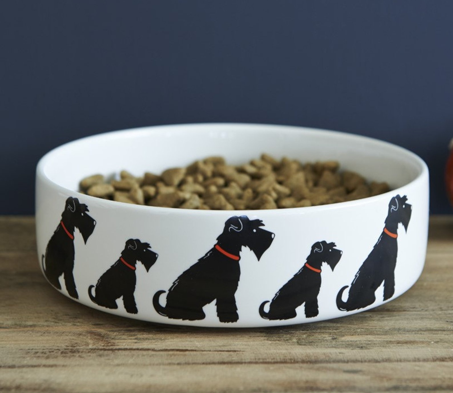 Large Black Schnauzer Ceramic Dog Food and Water Bowl By Sweet William London