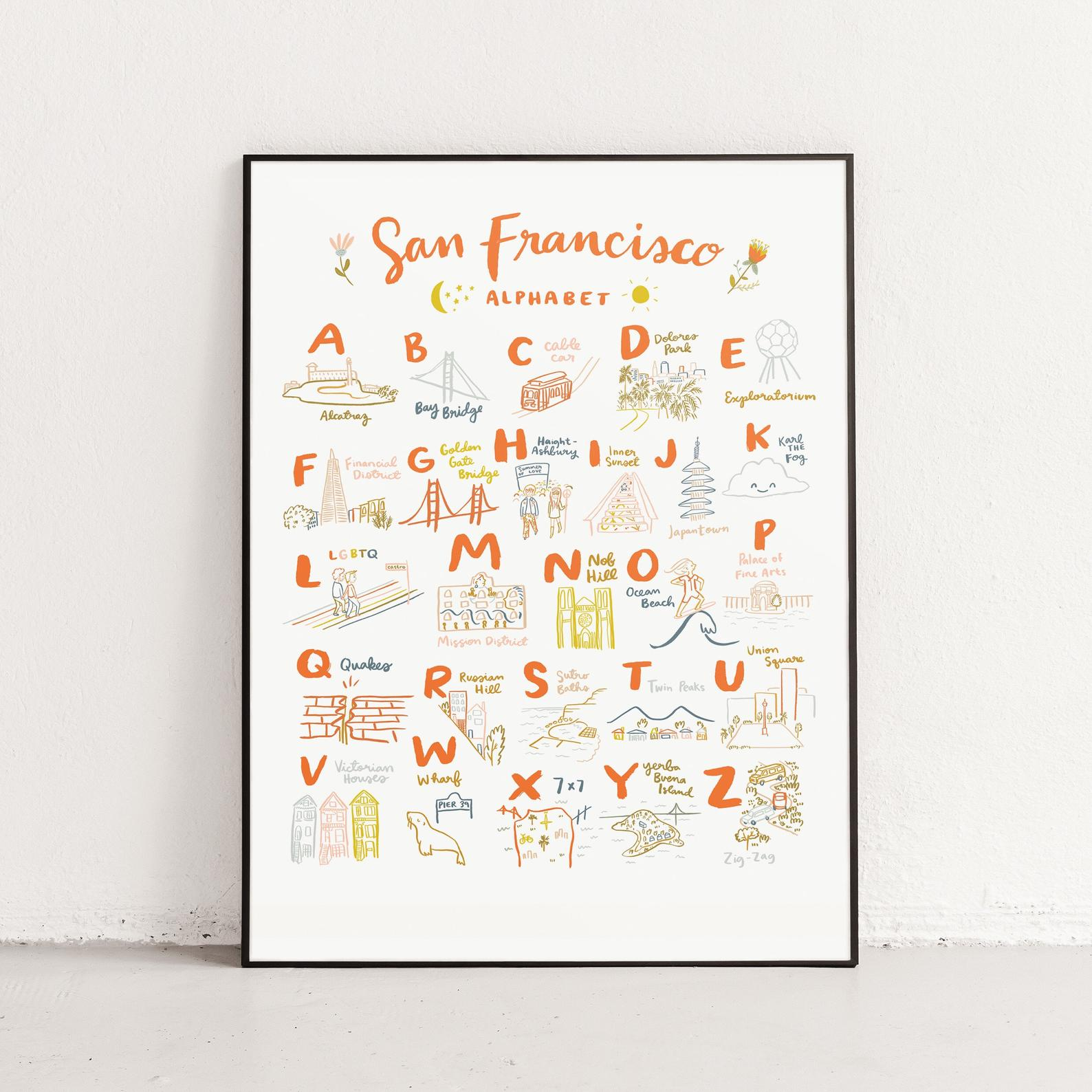 San Francisco Alphabet Poster By Abbie Illustrations