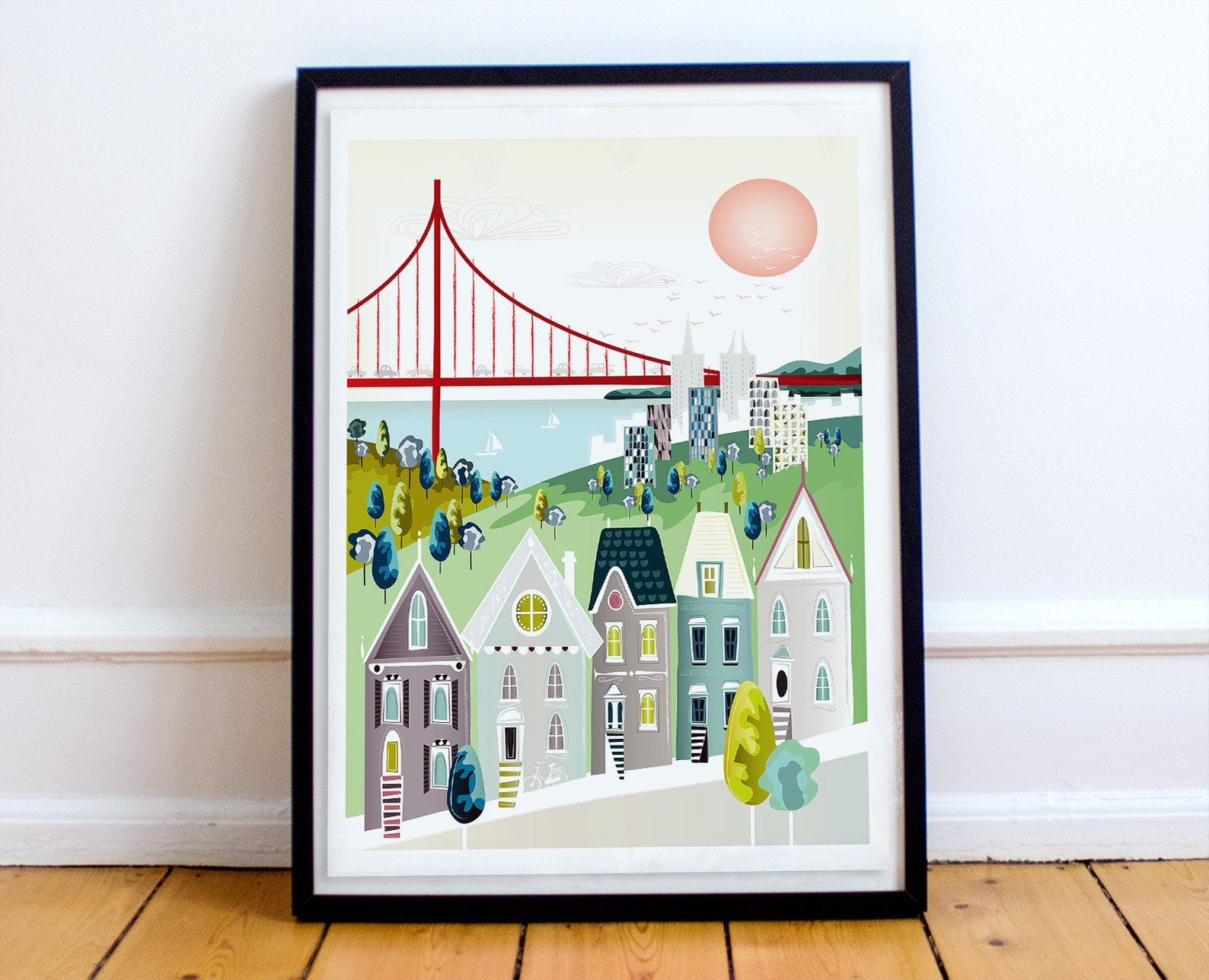 San Francisco California Wall Art With Golden Gate Bridge By Laura A Miss