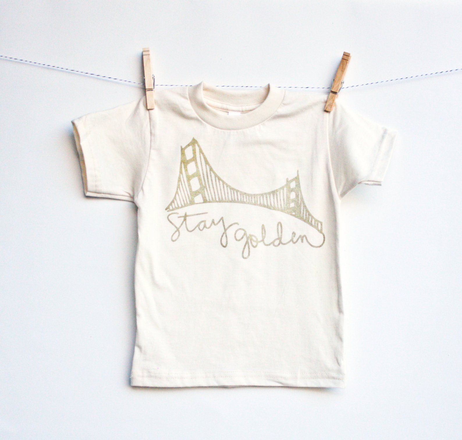 Stay Golden Organic San Francisco Golden Gate Bridge Shirt for Kids By Earth Cadets