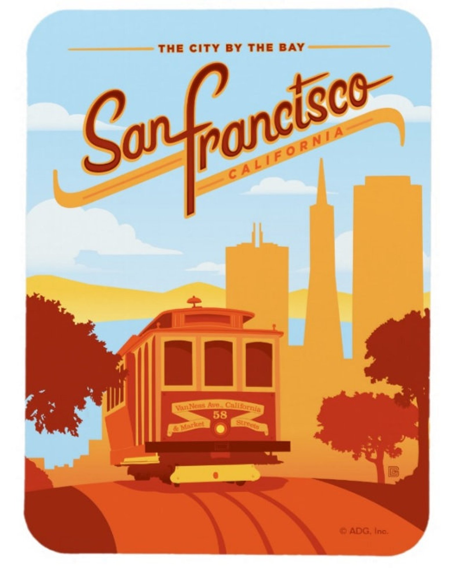 San Francisco California Cable Car Magnet By Markopostcards