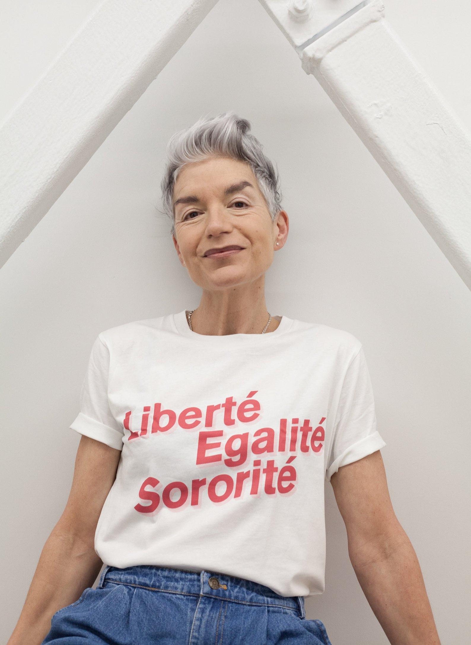 Liberté Egalité Sororité Organic Cotton Feminist T-Shirt By Black and Beech