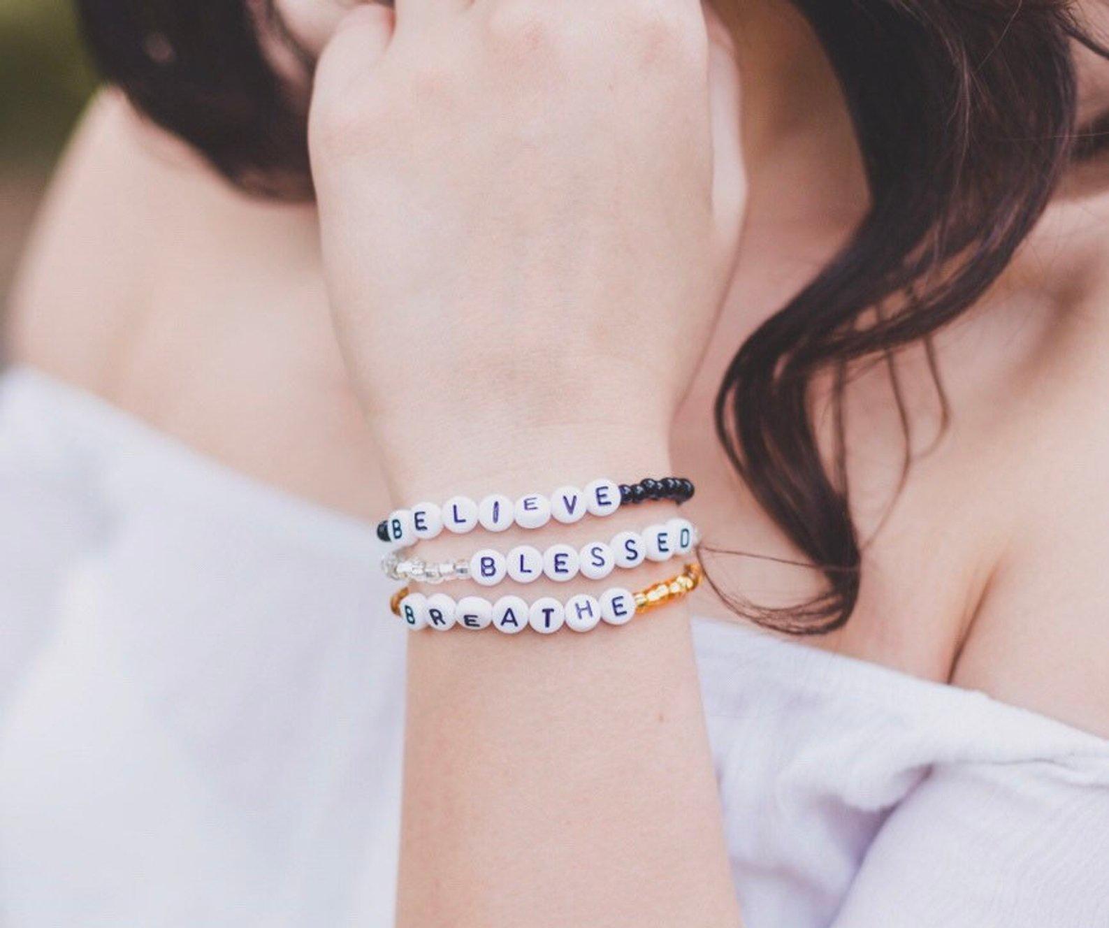 Custom Word Bracelet By Brooklyn Rose Beads
