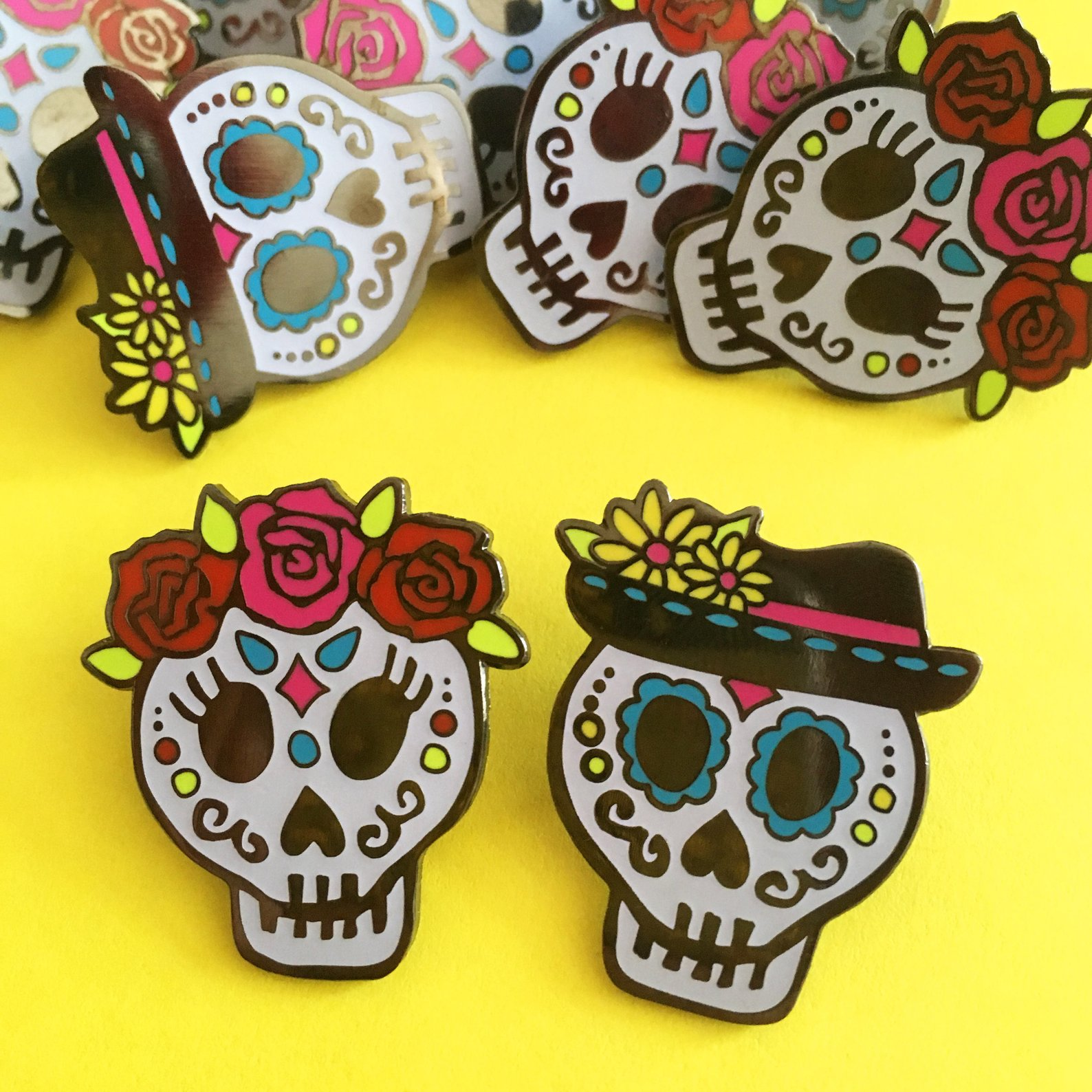 Day of the Dead Sugar Skull Enamel Pin By Woah There Pickle