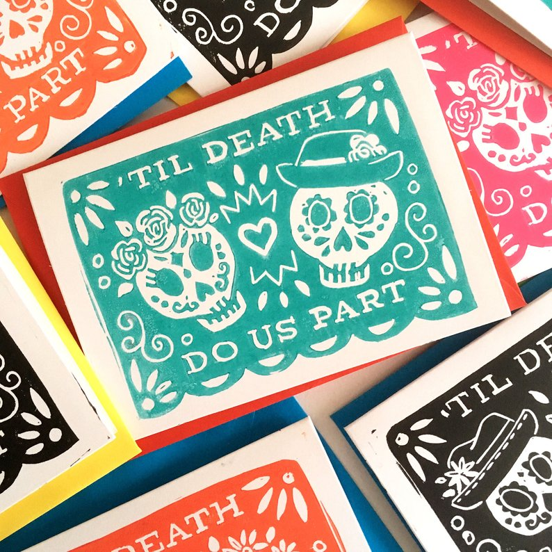 Til Death Do Us Part Day of the Dead Linocut Wedding Card By Woah There Pickle