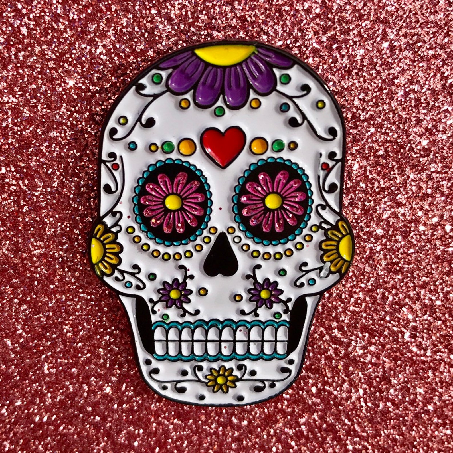 Sugar Skull Enamel Pin By Rising Monarchs
