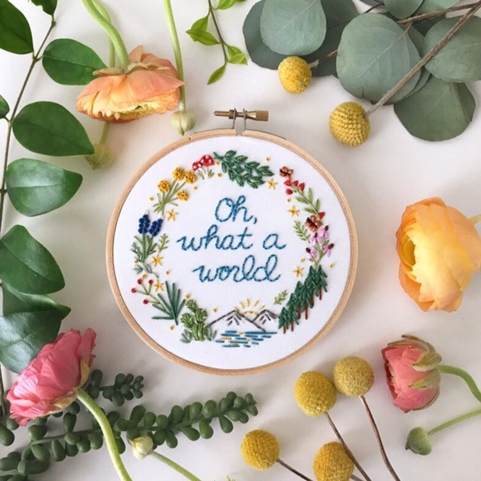Oh What a World Embroidery Hoop By Lemon Made Shop