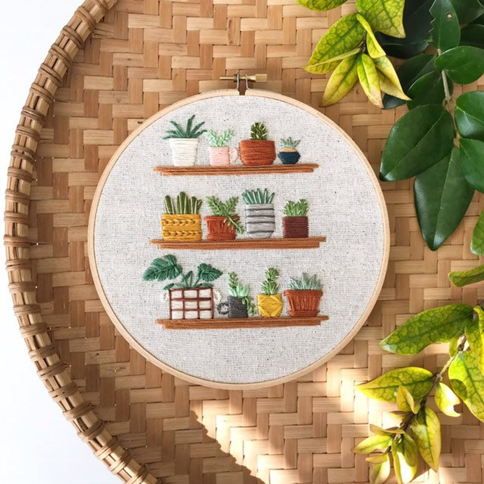 Tiny Houseplants on Shelves Embroidered Hoop By Lemon Made Shop