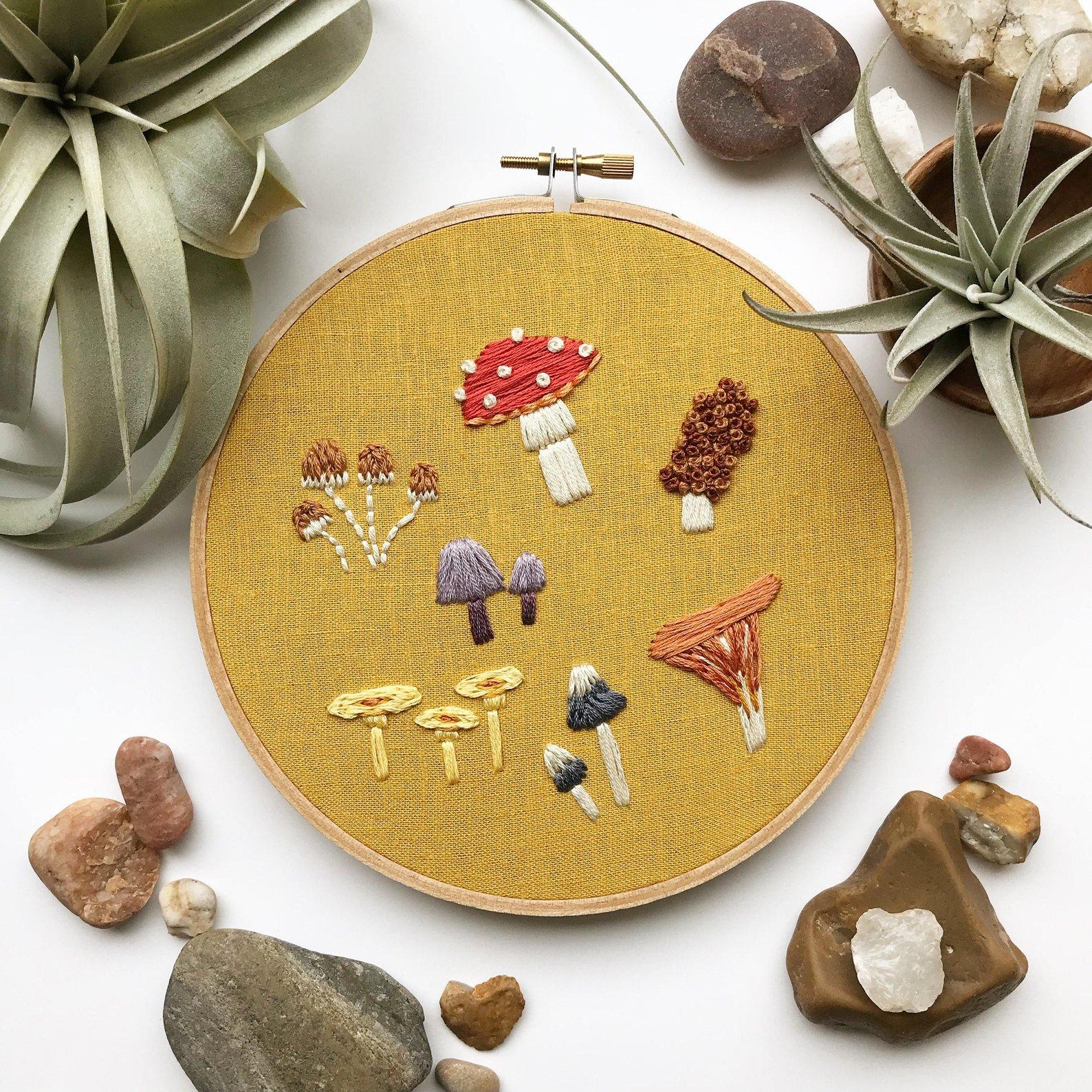 Mushroom Embroidery Art Hoop By Lemon Made Shop