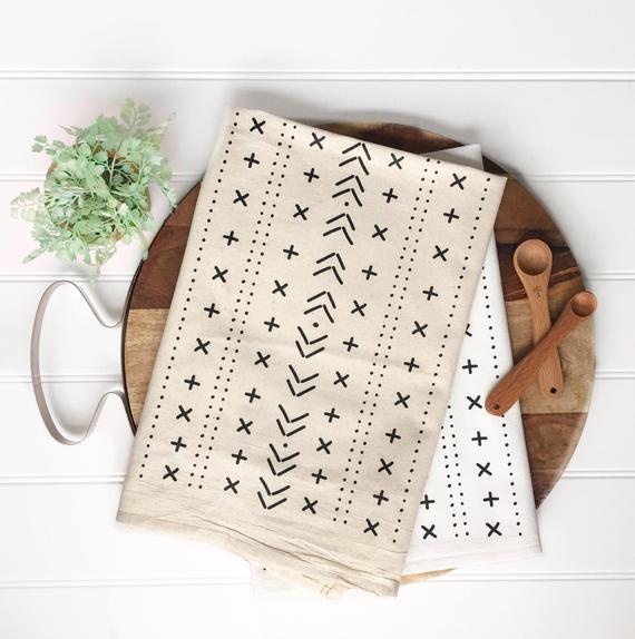 Mudcloth Inspired Tea Towel By KitchStudios