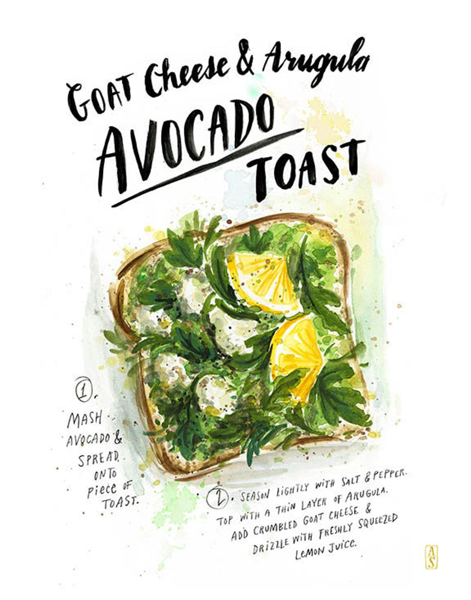 Avocado Toast Print By Angela Stealing Art