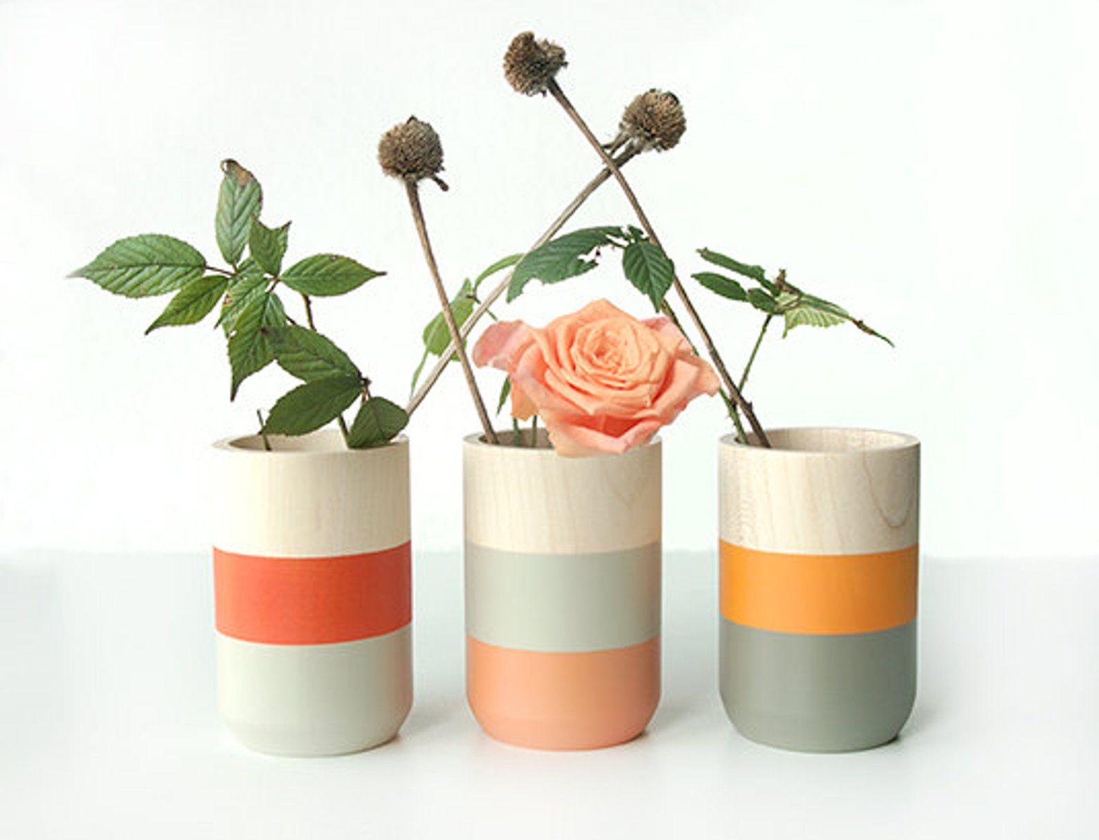 Set of 3 Painted Wooden Vases Home Decor By Shade on Shape