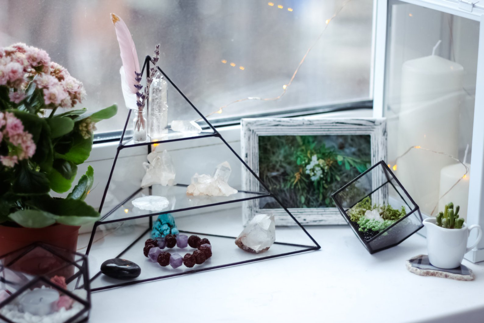 Pyramid Jewelry Rack and Terrariums By Stereometric Design