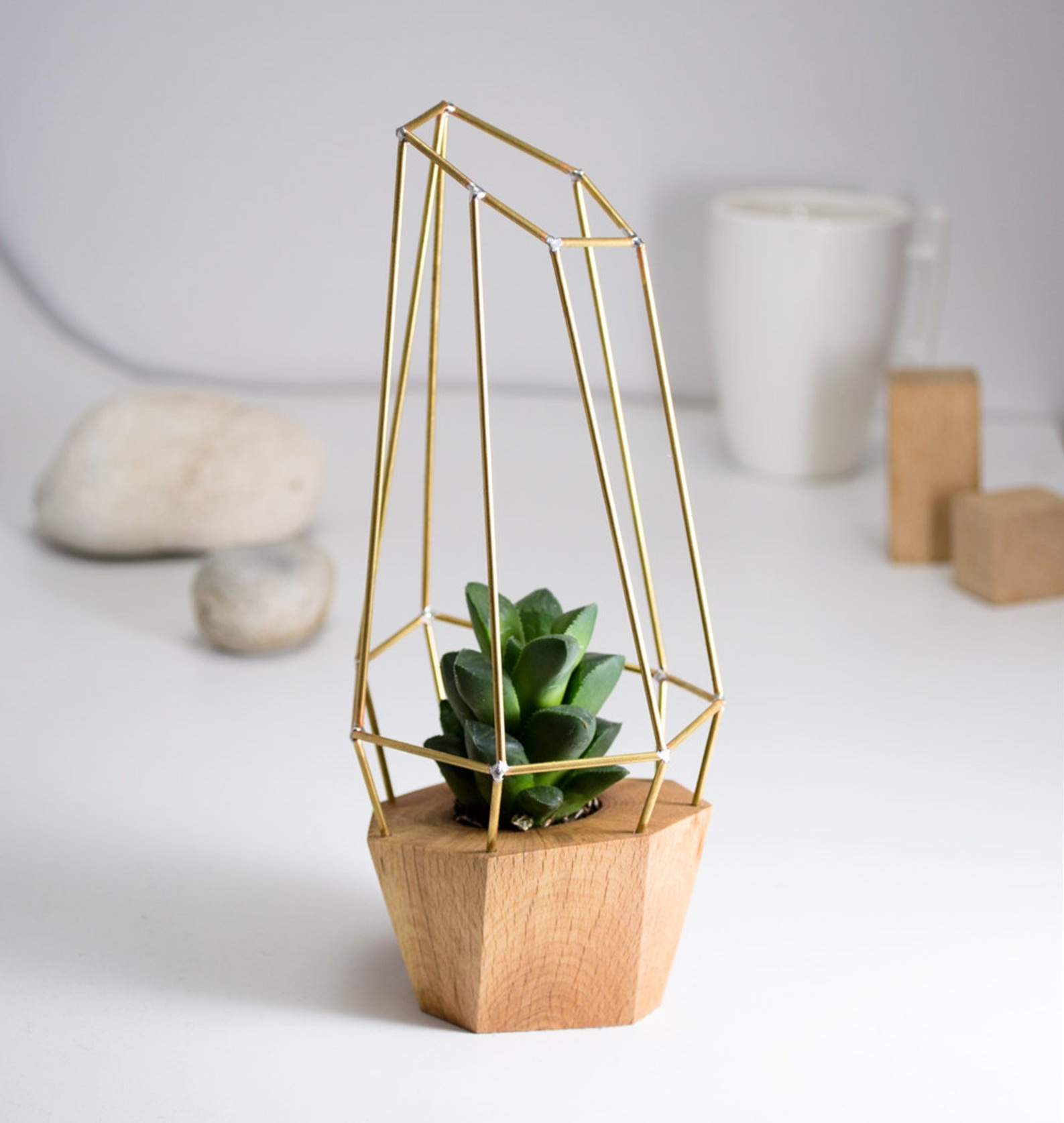Modern Faceted Geometric Planter By Raw Originals