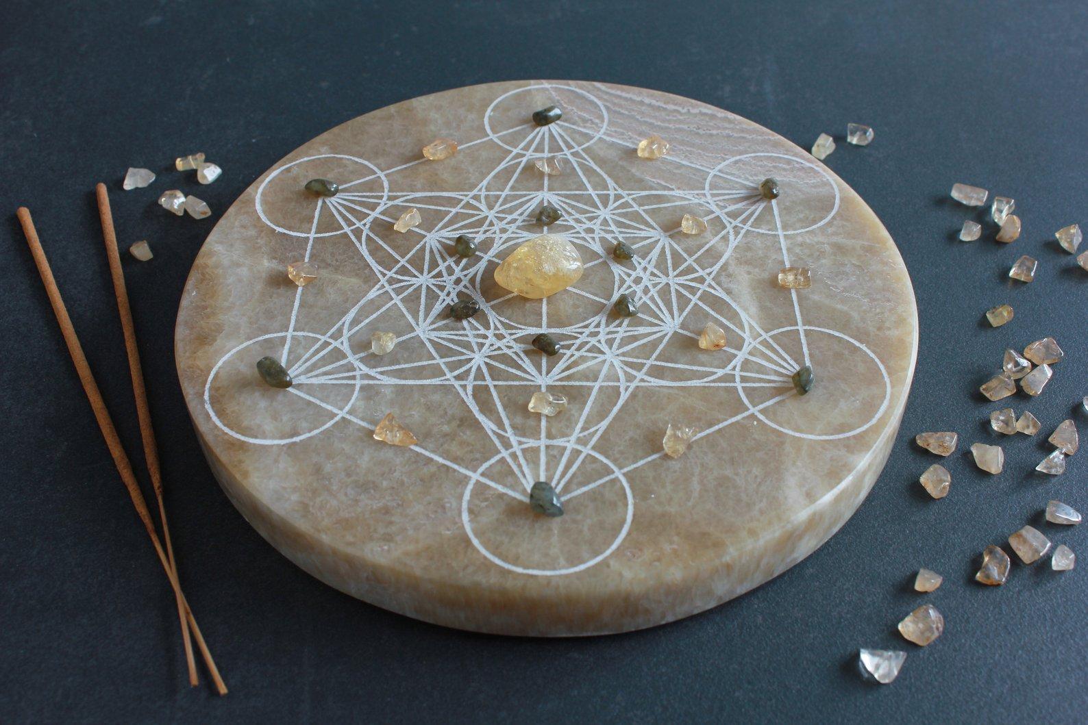 Onyx Miele Crystal Grid Metatron's Cube By VaSta Art