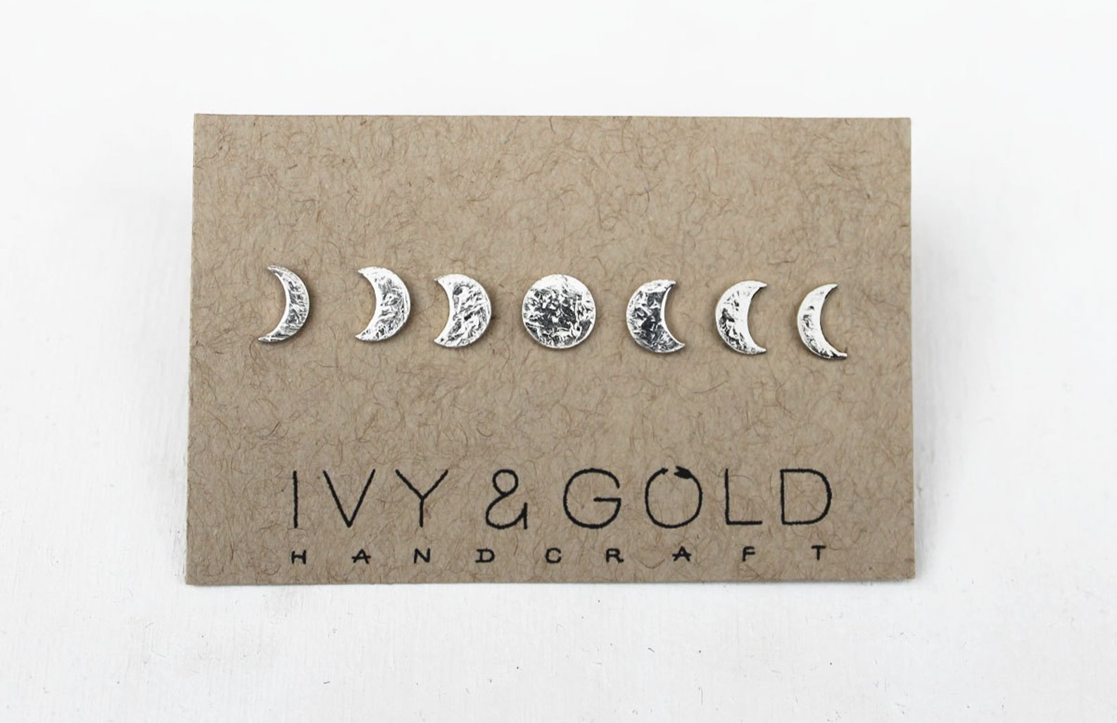 Sterling Silver Phases of the Moon Stud Earring Collection By IvyandGoldHandcraft
