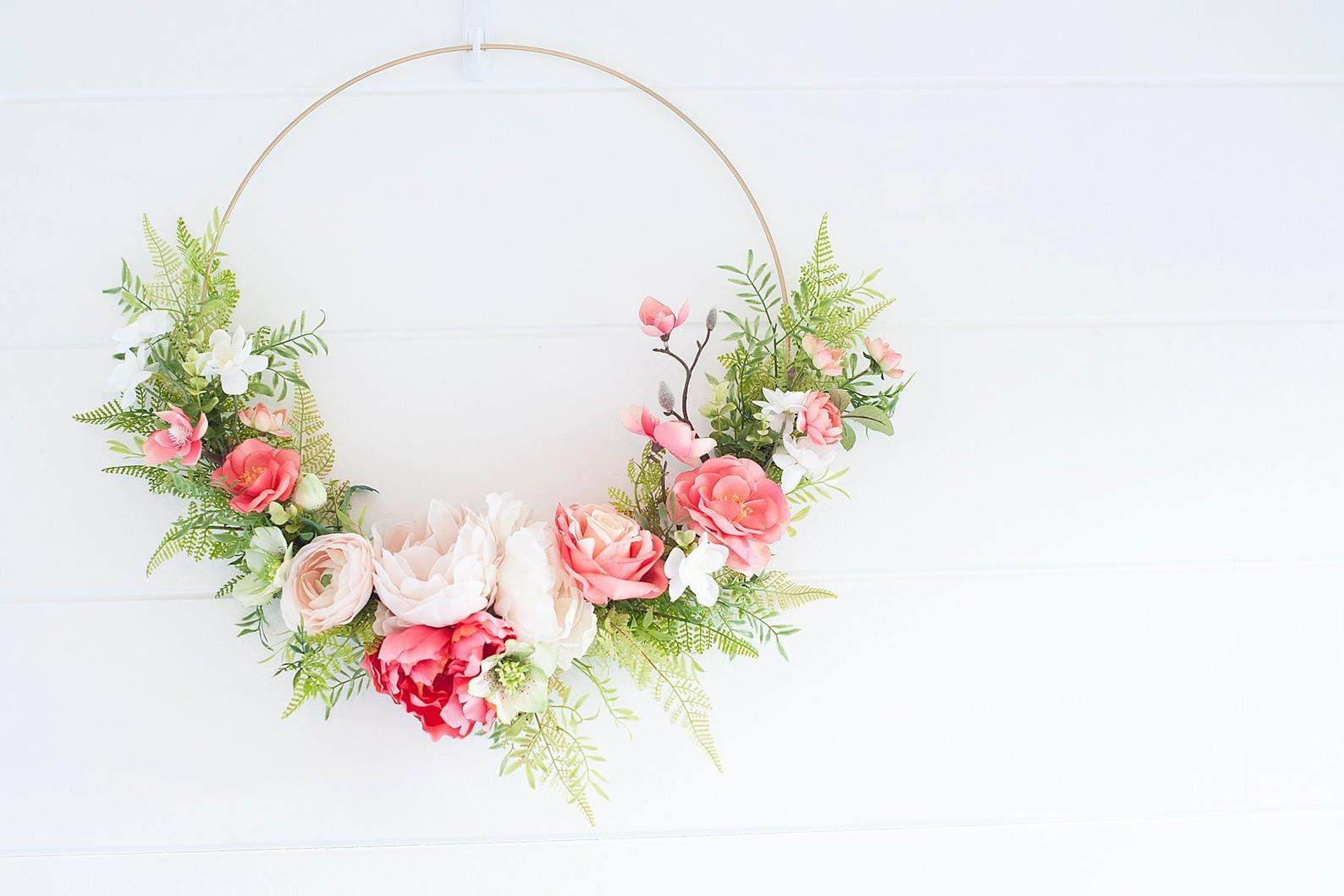 Modern LUX Coral & Blush Bloom Wreath Hoop By Mod Sugar Design