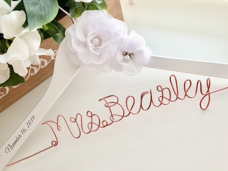 Rose Gold Personalized Wedding Hanger By Hanging with the Bride