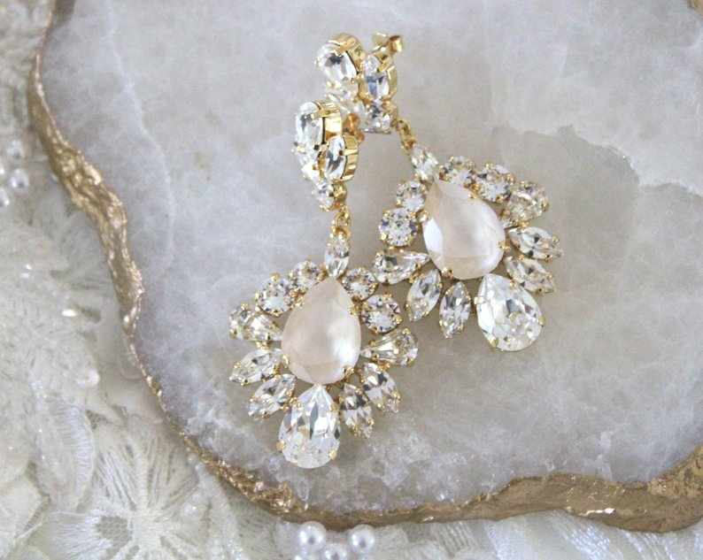 Swarovski Crystal Chandelier Bridal Earrings By Couture Bridal Studios