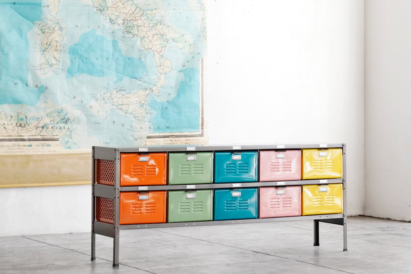 Reclaimed Locker Basket Unit with Multicolored Drawers By Rehab Vintage LA