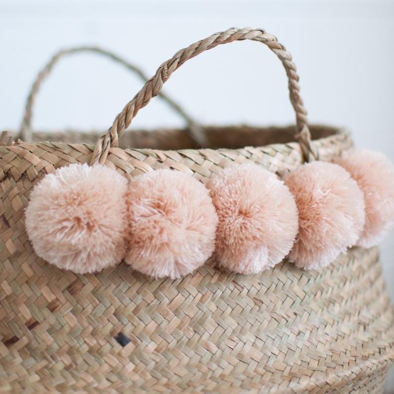 Blush Pom Pom Basket By Xinhand Co Goods