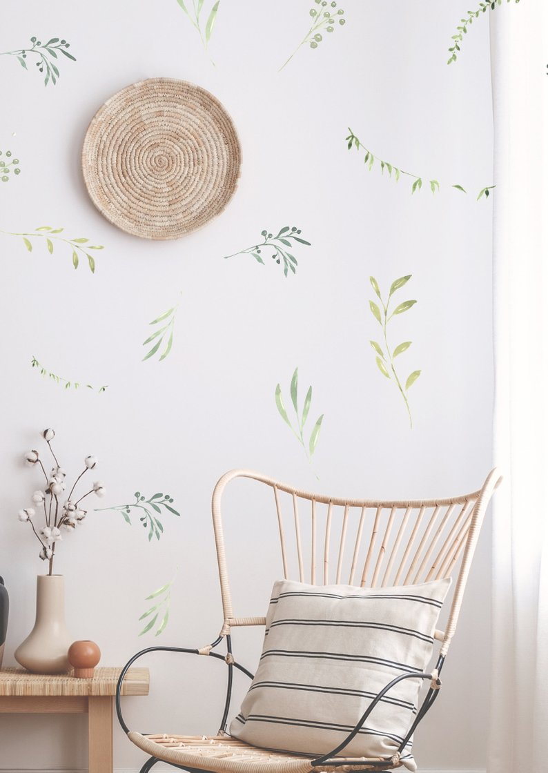 Water Color Sweet Branches and Leaves Wall Decal By The Lovely Wall