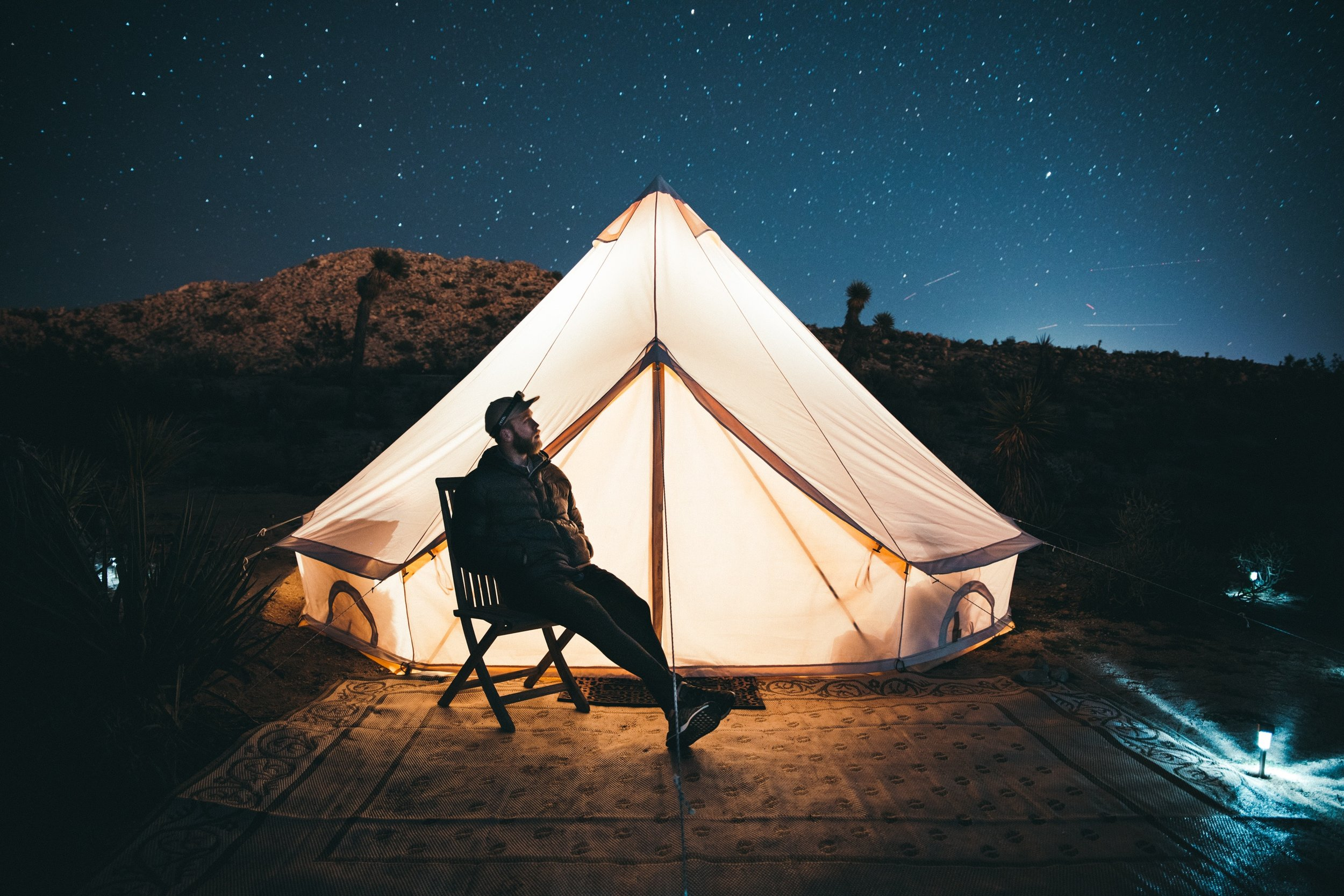 Star Gazing Yurt - Enjoying watching the stars from the comfort of your own tent in the desert.