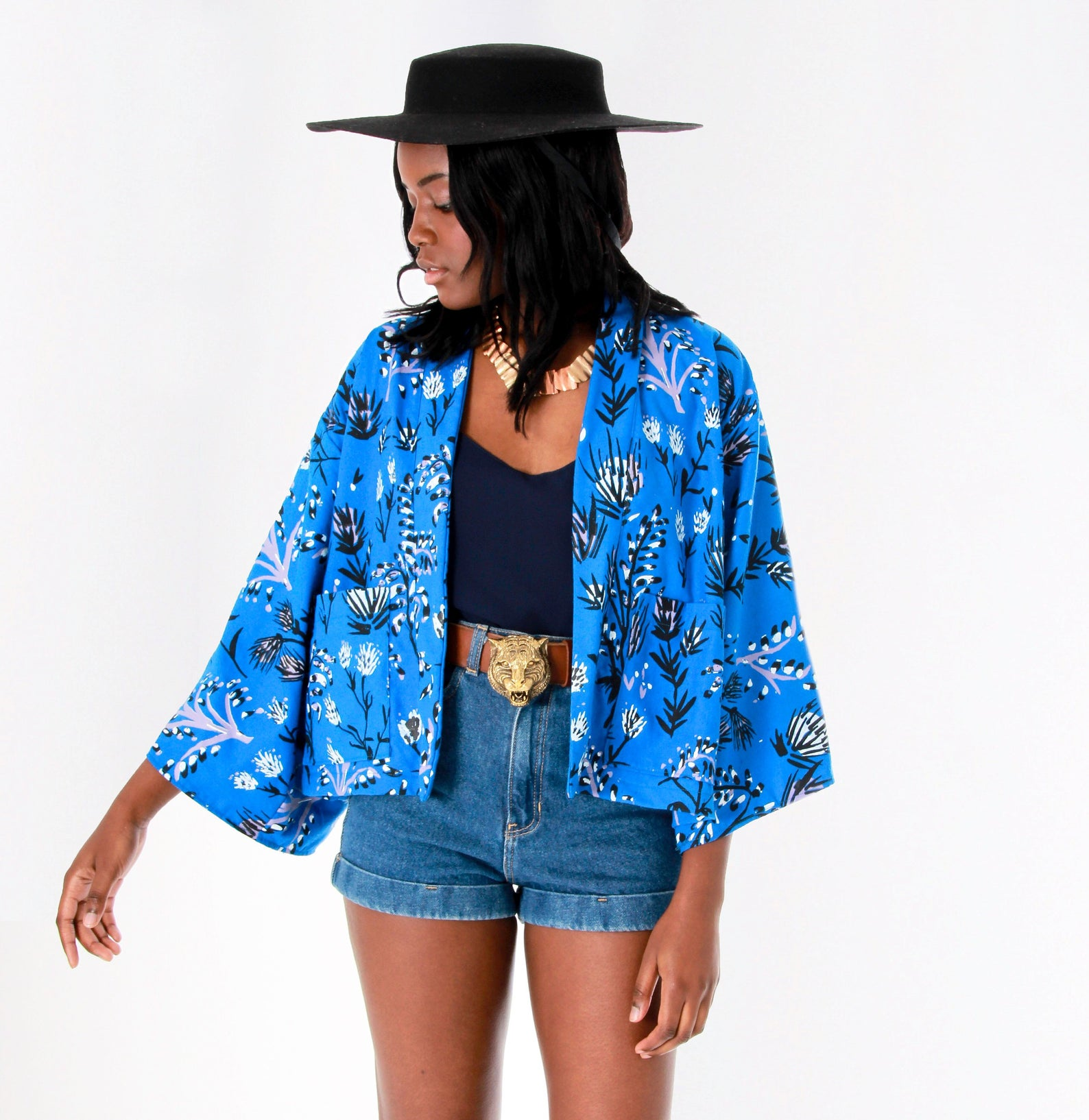Boxy Jacket 'Thistle' Print in Blue By Thief and Bandit