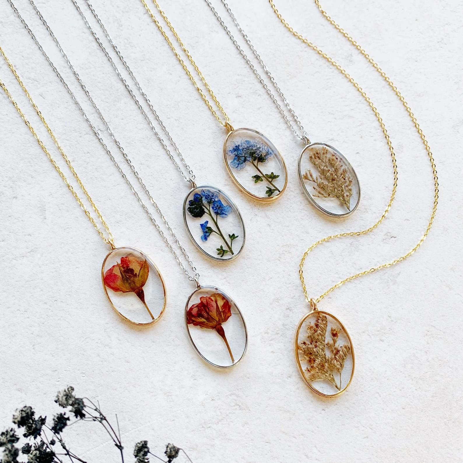 Personalized Pressed Flower Necklace By EE Jewellery