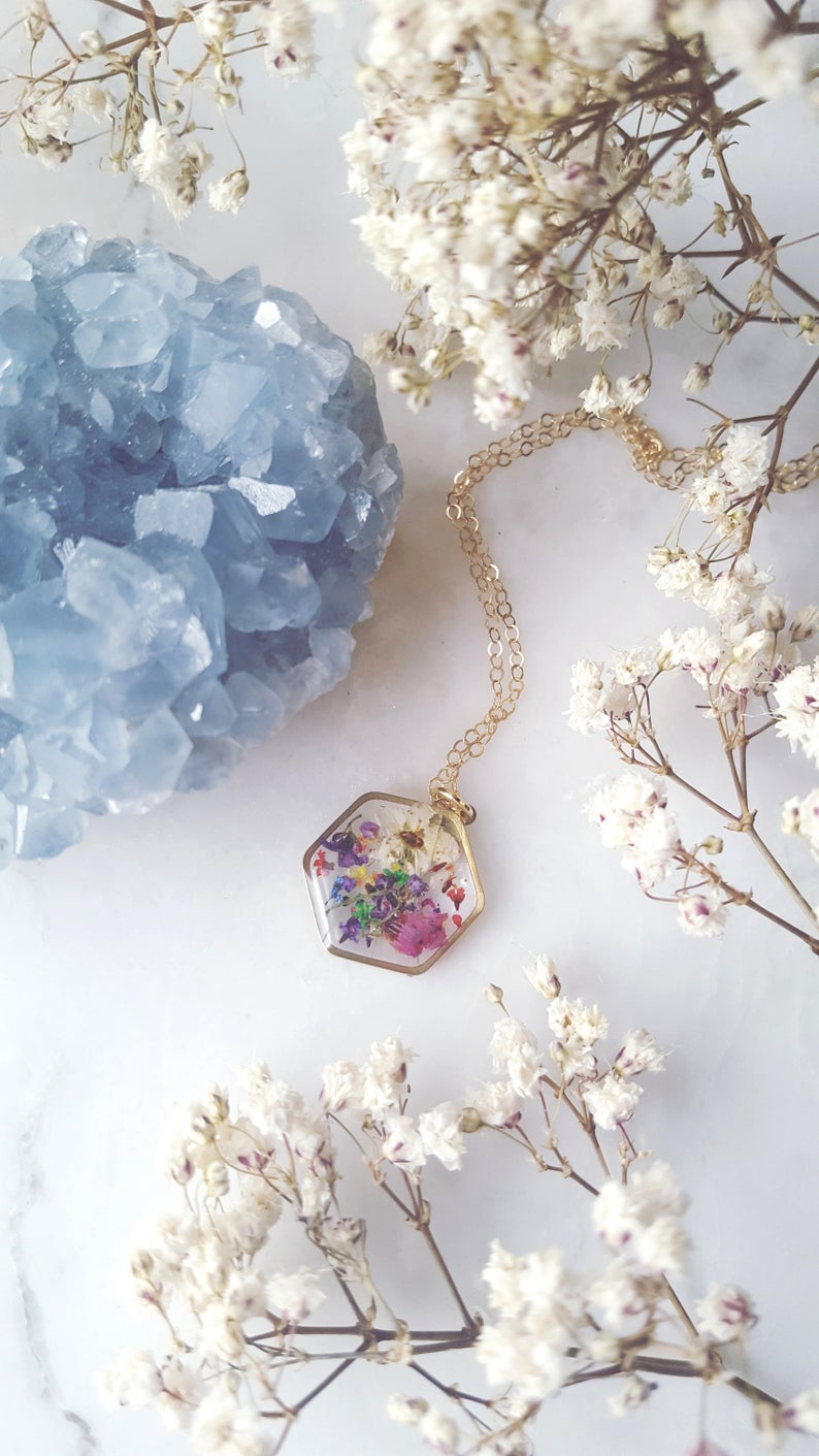 Hexagon Mixed Pressed Flower Necklace By Duplika Jewelry