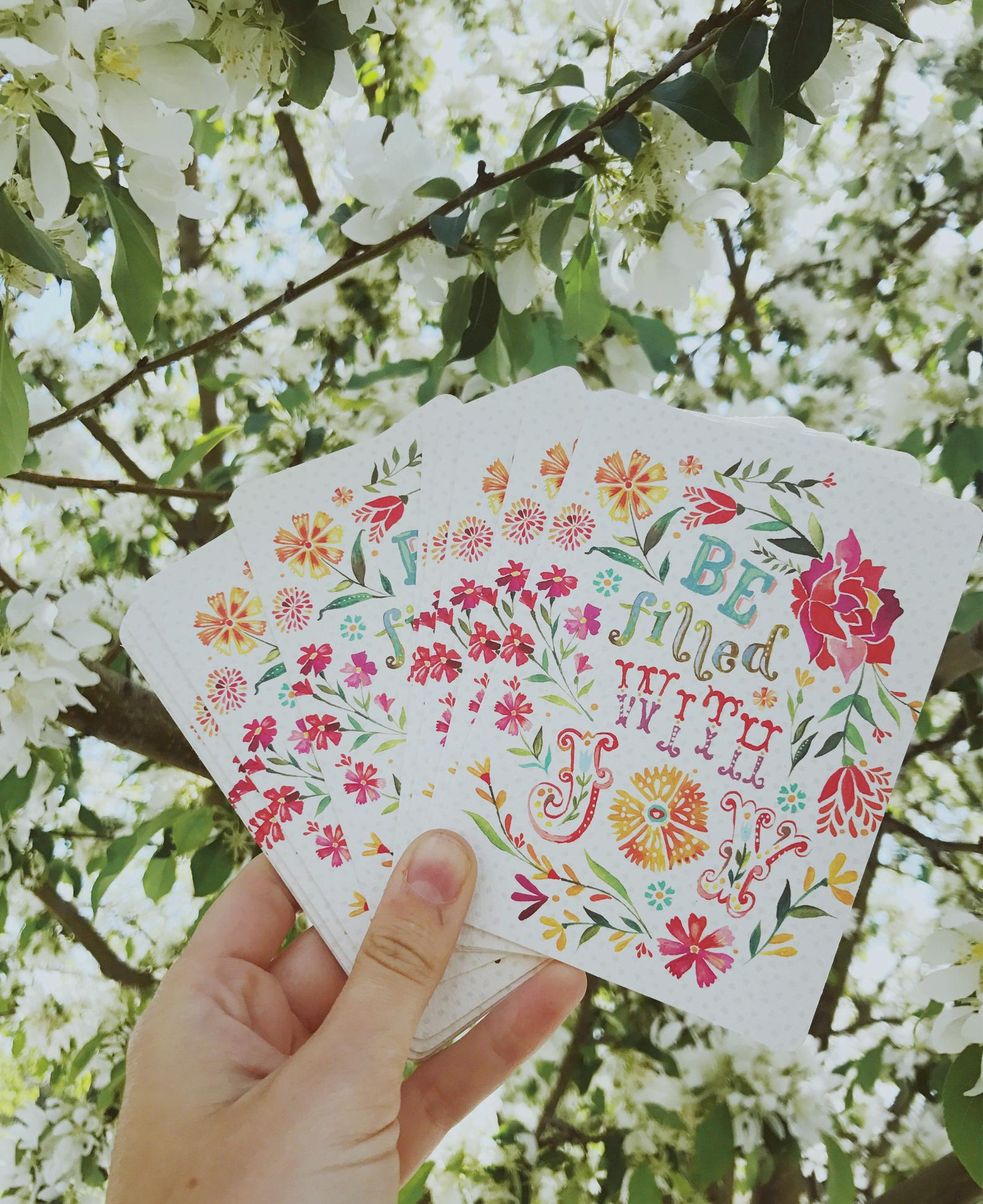 Be Filled With Joy Notecard Set By The Wheat Field