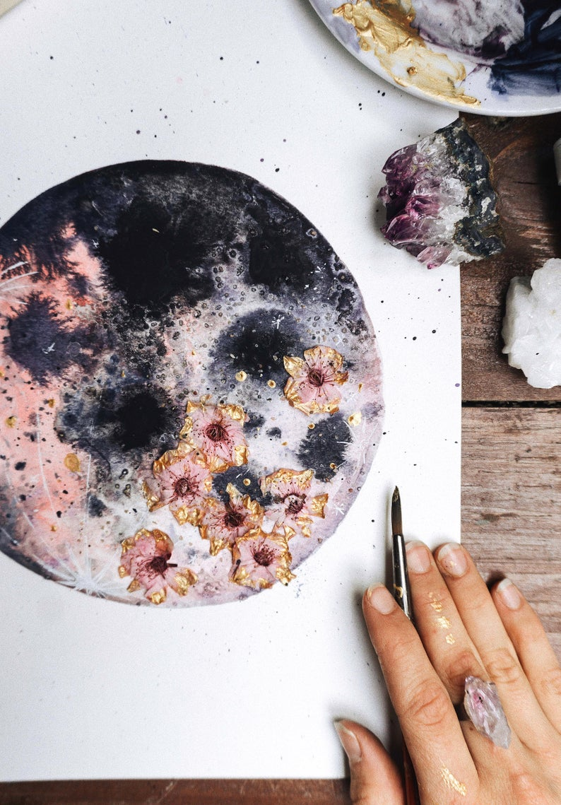 Pink Dried Flower Moon By Dreamy Moons