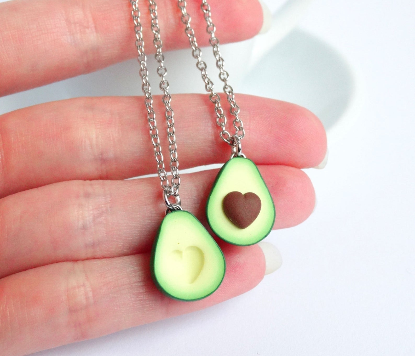 Green Avocado BFF Friendship Necklace Pendant By Shiny Stuff Creations