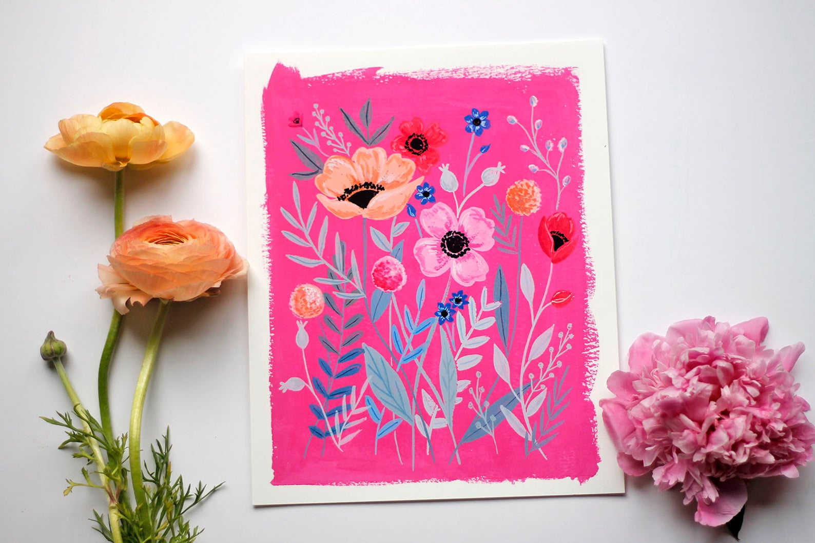 Bright Pink Floral Art Print By Stephanie Tara Cooper