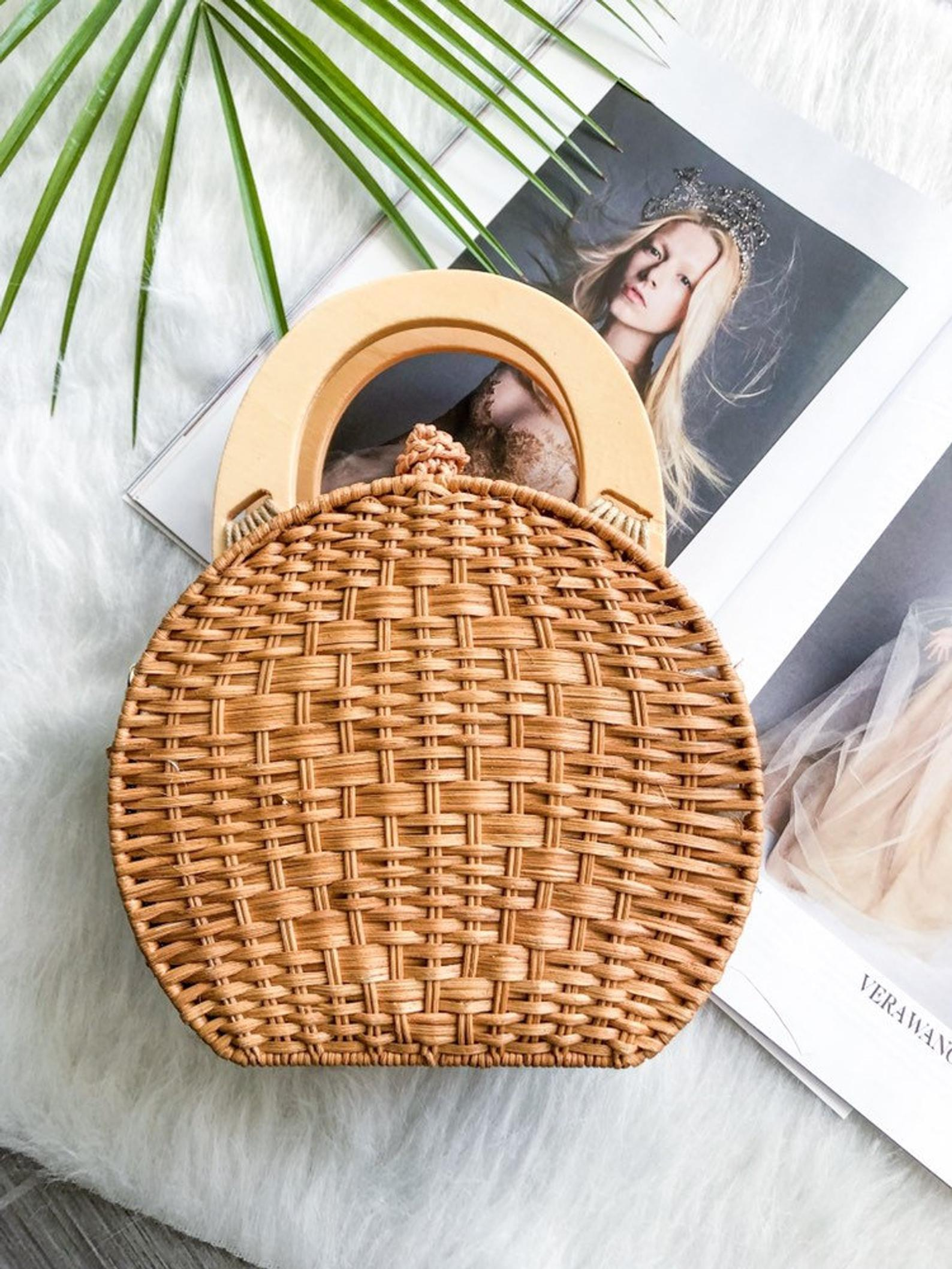 Rattan Bag with Wooden Top Handles By Nay Sheet Boutique