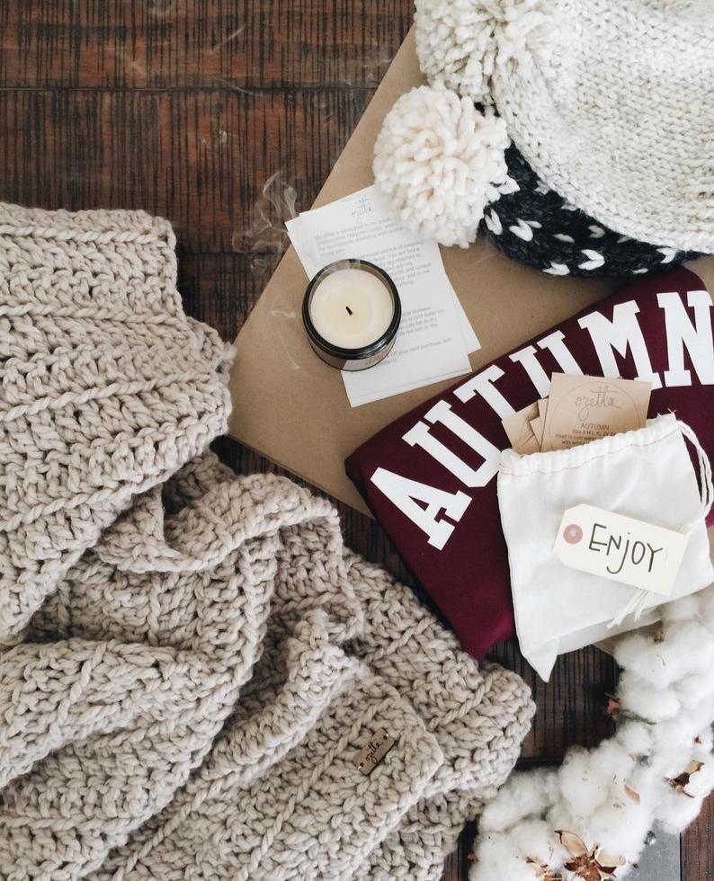 Autumn Fall Lettering Maroon Crewneck Sweatshirt By Ozetta