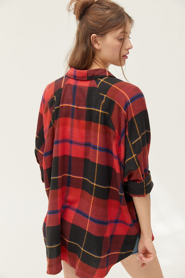 UO Brendan Drapey Flannel Button-Down Shirt in Red